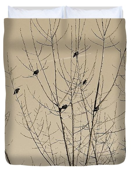 Birds Gather Duvet Cover