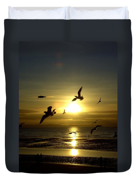Birds Gathering At Sunset Duvet Cover