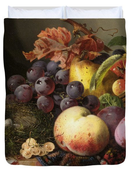 Birds Nest Butterfly And Fruit Basket Duvet Cover by Edward Ladell