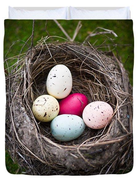 Bird's Nest With Easter Eggs Duvet Cover