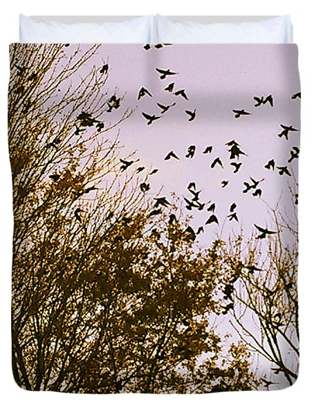 Birds Of A Feather Flock Together Duvet Cover by Thomasina Durkay
