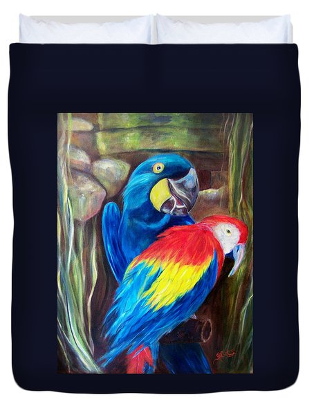 Bird's Of A Feather, Macaws Duvet Cover