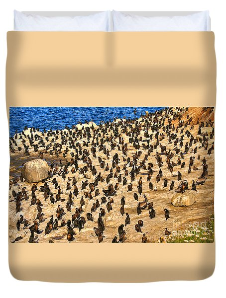 Birds Of A Feather Stick Together Duvet Cover by Jim Carrell