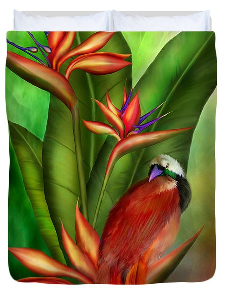 Birds Of Paradise Duvet Cover by Carol Cavalaris