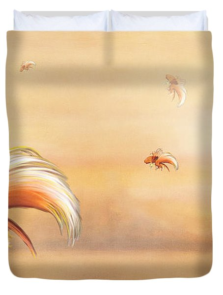 Birds Of Paradise In The Fog Duvet Cover by Angela A Stanton