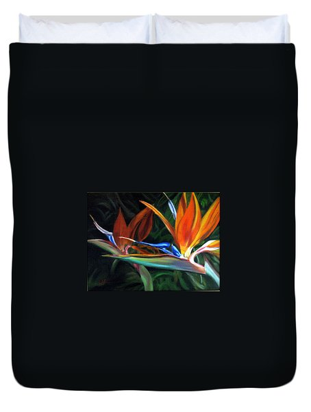 Birds Of Paradise Duvet Cover by LaVonne Hand