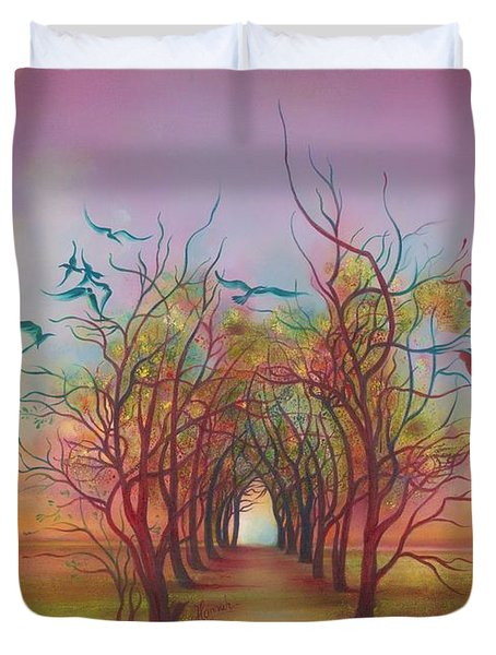 Birds Of Rainbow Mist Duvet Cover