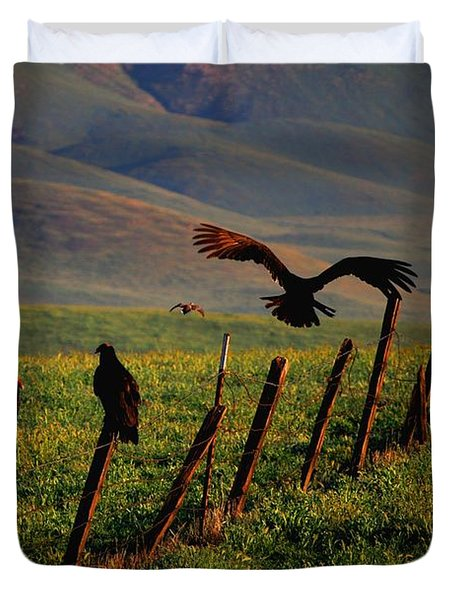 Duvet Cover featuring the photograph Birds On A Fence by Matt Harang