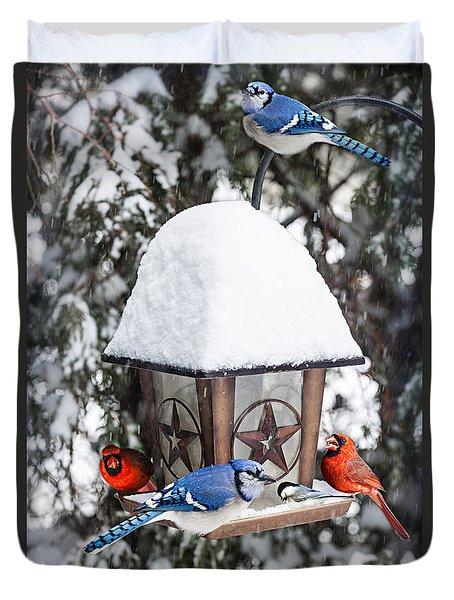 Birds On Bird Feeder In Winter Duvet Cover