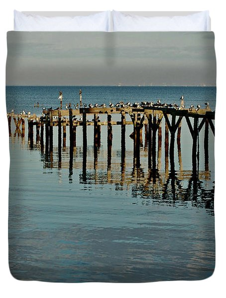 Birds On Old Dock On The Bay Duvet Cover by Michael Thomas