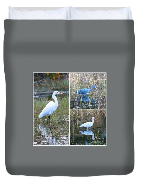 Birds On Pond Collage Duvet Cover by Carol Groenen