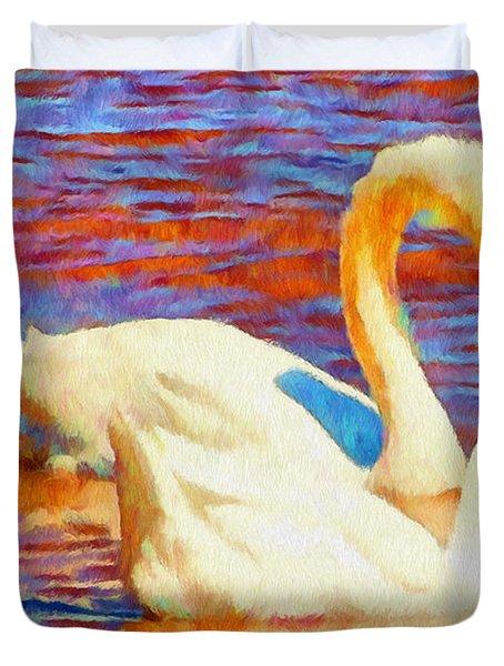 Birds On The Lake Duvet Cover by Jeff Kolker