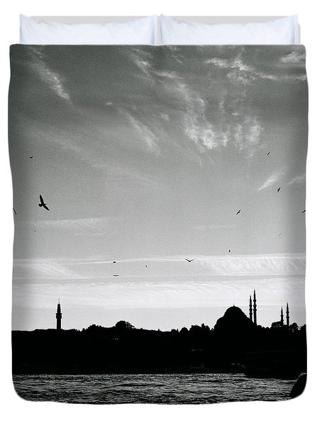 Birds Over The Golden Horn Duvet Cover