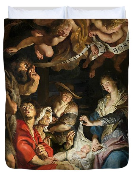 Birth Of Christ Adoration Of The Shepherds Duvet Cover