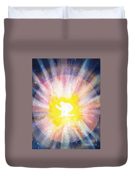 Duvet Cover featuring the painting Rebirth by Leanne Seymour