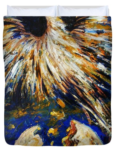 Duvet Cover featuring the painting Birth Of The Phoenix by Karen  Ferrand Carroll