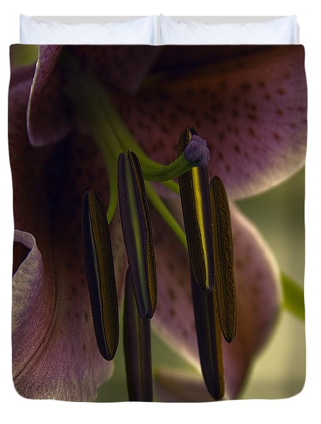 Duvet Cover featuring the photograph Lily Wishes by Jean OKeeffe Macro Abundance Art