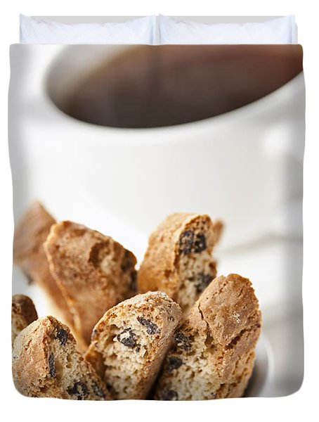Biscotti And Coffee Duvet Cover by Elena Elisseeva