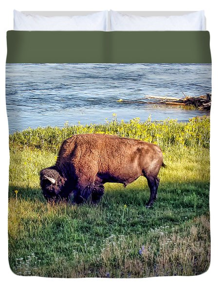 Duvet Cover featuring the photograph Bison 4 by Dawn Eshelman