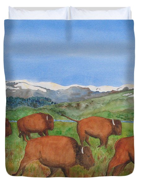 Bison At Yellowstone Duvet Cover by Patricia Beebe