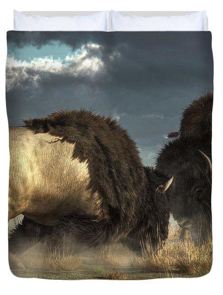 Bison Fight Duvet Cover