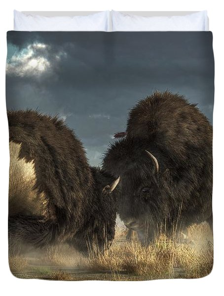 Duvet Cover featuring the digital art Bison Fight by Daniel Eskridge