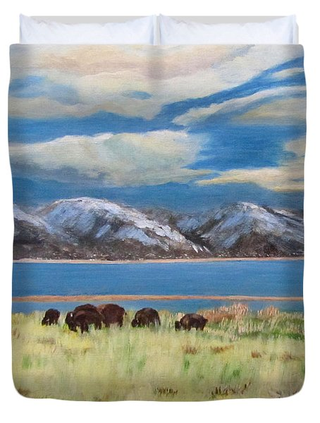 Bison On Antelope Island Duvet Cover