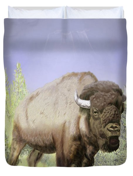 Bison On The Range Duvet Cover