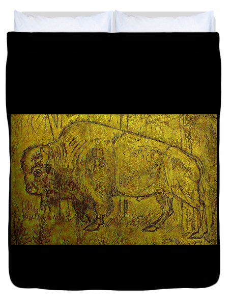 Golden  Buffalo Duvet Cover by Larry Campbell