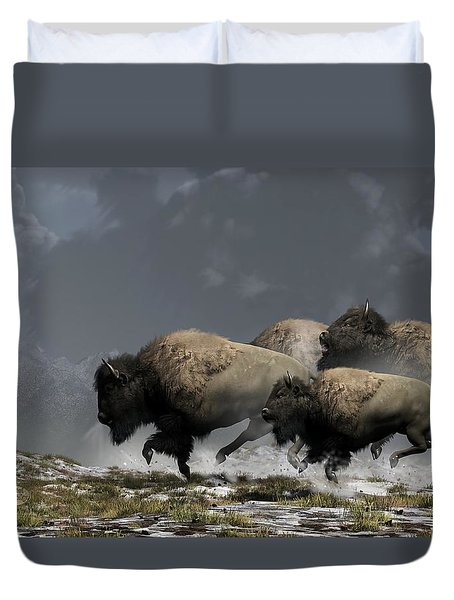 Duvet Cover featuring the digital art Bison Stampede by Daniel Eskridge