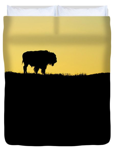Duvet Cover featuring the photograph Bison Sunrise by Sonya Lang