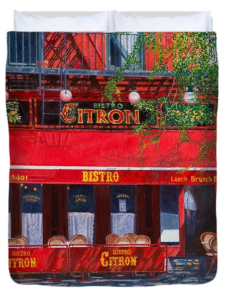 Bistro Citron New York City Duvet Cover by Anthony Butera