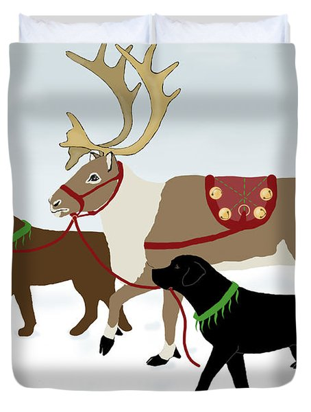 Black And Chocolate Labs Lead Reindeer Duvet Cover