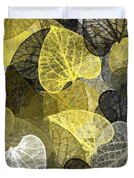 Black And Gold Leaf Pattern Duvet Cover