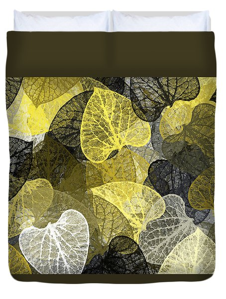 Black And Gold Leaf Pattern Duvet Cover by Christina Rollo