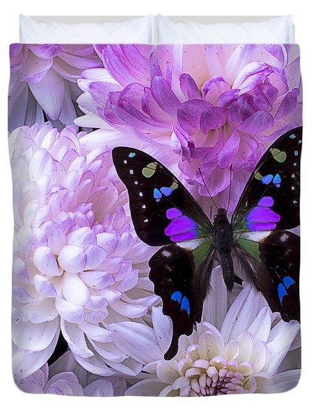 Black And Purple Butterfly On Mums Duvet Cover