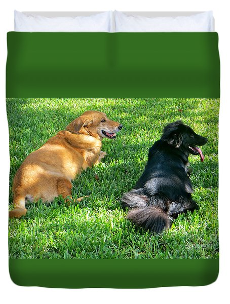 Duvet Cover featuring the photograph Black And Tan by Joy Hardee