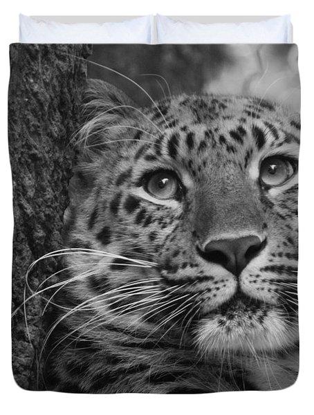 Black And White Amur Leopard Duvet Cover