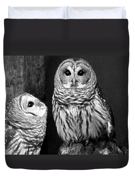 Black And White Barred Owls Duvet Cover