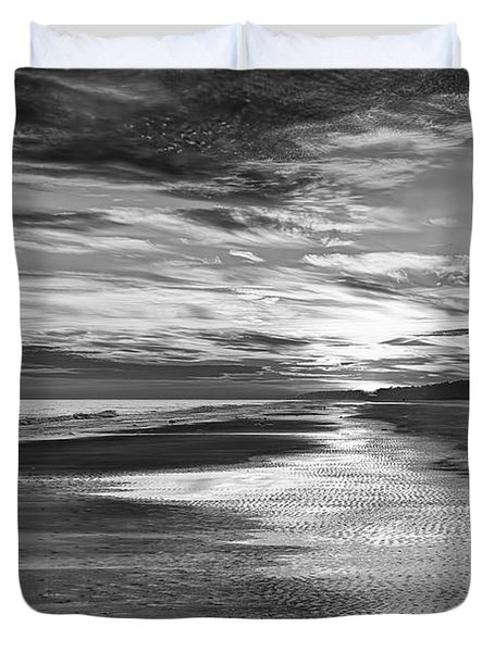 Black And White Beach Duvet Cover by Phill Doherty