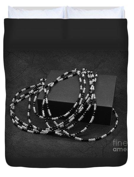 Black And White Beads Duvet Cover