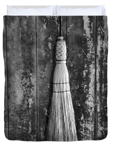 Black And White Broom Duvet Cover