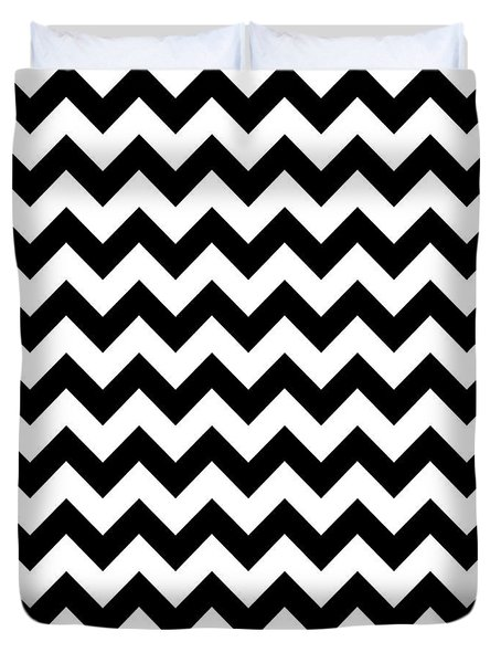 Black And White Chevron Duvet Cover by Jackie Farnsworth