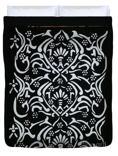 Black And White Classic Damask Duvet Cover by Debra Acevedo