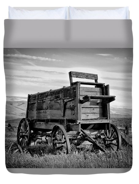 Black And White Covered Wagon Duvet Cover by Athena Mckinzie