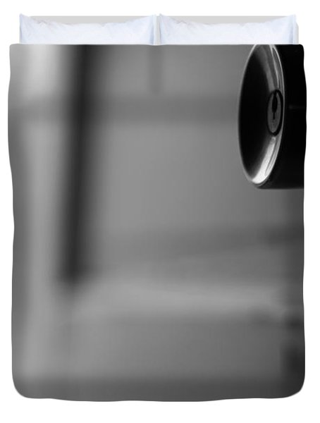 Black And White Door Handle Duvet Cover by Dan Sproul