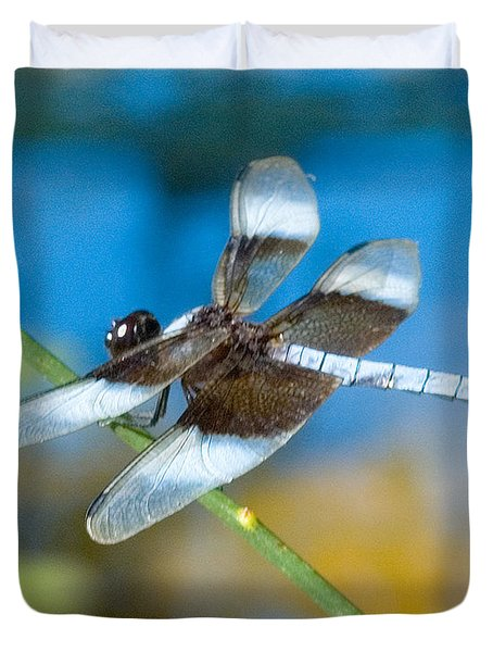 Duvet Cover featuring the photograph Black And White Dragonfly by Mae Wertz
