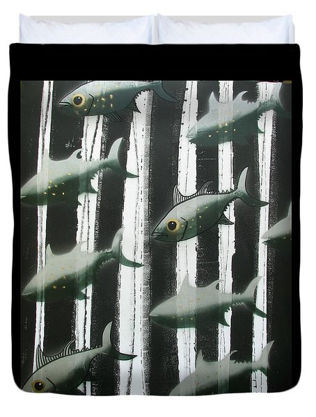 Black And White Fish Duvet Cover
