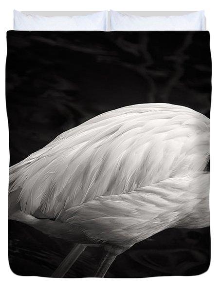 Black And White Flamingo Duvet Cover by Adam Romanowicz