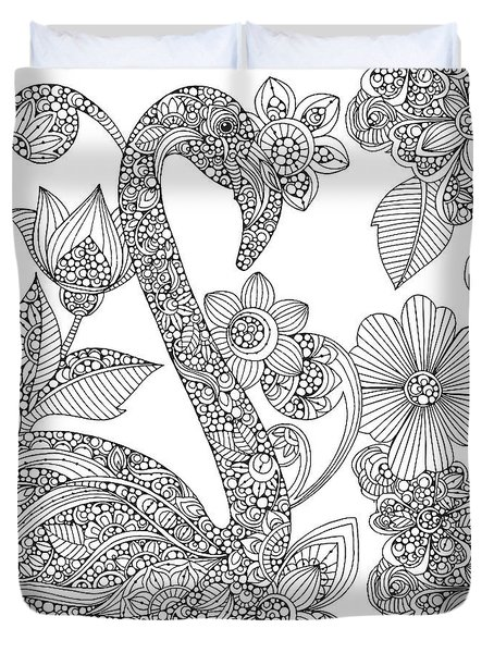 Black And White Flamingo Duvet Cover